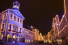 Town hall and the old town, Christmas lights, Ljubljana, Slovenia - photo by I.Middleton