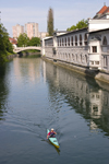 Canoeing on the Ljubljanica river, Ljubljana, Slovenia - photo by I.Middleton