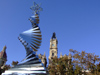 Spain / España - Valencia: Plaza de Ayuntamiento - spiral and the City Hall (photo by M.Bergsma)