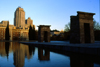 Spain - Madrid: Debod Egyptian temple - pond - photo by K.Strobel
