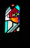 Madrid, Spain / Espa�a: Cathedral of Nuestra Se�ora de la Almudena - stained glass window in the apse, by Kiko Arg�ello - the 'word' of God - 'slovo' in Russian - photo by M.Torres