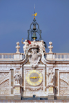Spain / España - Madrid: Royal Palace / Palacio Real - clock, bells and coat of arms - south façade - photo by M.Torres