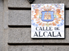 Madrid, Spain: Calle de Alcal� sign - Alcal� de Henares coat of arms - photo by M.Torres