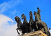 Madrid, Spain: Quadriga at Calle de Alcal� 16, Edificio del Banco de Bilbao - BBVA - architect Ricardo Bastida - sculpture by Higinio de Basterra - Cu�driga - photo by M.Torres