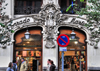 Madrid, Spain: Calle Mayor 16 - art nouveau entrance of the Compa��a Colonial building / Conrado Mart�n, S.A. - photo by M.Torres