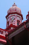 Colombo, Sri Lanka: clock minaret - Jami-Ul-Alfar Mosque - Pettah - photo by M.Torres