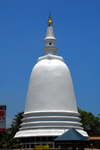 Colombo, Sri Lanka: large white dagobah / stupa - Sri Sambuddhaloka Vihare temple - Lotus road - Fort - photo by M.Torres