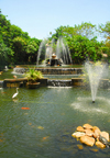 Colombo, Sri Lanka: fountain in the shape of a lotus flower - pond in the Gardens of the Hilton Hotel - photo by M.Torres