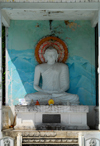 Galle, Southern Province, Sri Lanka: Buddha in the shade - near the train station - photo by M.Torres