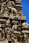 Galle, Southern Province, Sri Lanka: Hindu temple - detail of gopuram aka vimanam - photo by M.Torres