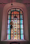 Galle, Southern Province, Sri Lanka: stained glass window - Groote Kerk / Dutch Reformed Church - Galle Forth, the Old Town - UNESCO World Heritage Site - photo by M.Torres