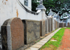 Galle, Southern Province, Sri Lanka: aligned tomb stones - garden of the Groote Kerk / Dutch Reformed Church - grafsteen - Old Town - UNESCO World Heritage Site - photo by M.Torres