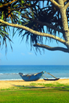 Bentota, Galle District, Southern Province, Sri Lanka: outrigger canoe on the beach - photo by M.Torres