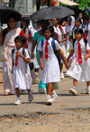 Galle, Southern Province, Sri Lanka: uniformed school children under - Old Town - UNESCO World Heritage Site - photo by M.Torres