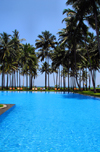 Wadduwa, Western province, Sri Lanka: pool, coconut trees and the Indian ocean - Blue Water Hotel - photo by M.Torres