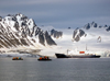 Svalbard - Spitsbergen island: passengers disembark for sightseeing by Zodiac from 'mother ship', Polar Pioneer, built in Finland in 1985 as an ice-strengthened research ship - photo by R.Eime