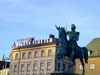 Stockholm, Sweden: Equestrian statue at Gamla Stan - photo by M.Bergsma