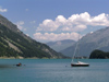 Switzerland - Maloja / Maloggia - Graubünden / Grigioni canton - yacht on Lake Silvaplana / Silvaplanersee - photo by J.Kaman