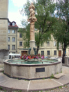 Switzerland / Suisse / Schweiz / Svizzera -  Fribourg / Freiburg: fountain near the Cathedral /  fontaine historique près st-nicolas (photo by Christian Roux)