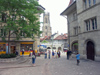 Switzerland / Suisse / Schweiz / Svizzera -  Fribourg / Freiburg: Lausanne street and the Cathedral / rue de lausanne & cathedrale (photo by Christian Roux)