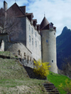 Switzerland / Suisse / Schweiz / Svizzera -  Gruyères: castle /  le château - centre européen de l'art fantastique, donjon du 13th (photo by Christian Roux)