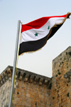 Crac des Chevaliers / Hisn al-Akrad, Al Hosn, Homs Governorate, Syria: Syrian flag at the castle's entrance - UNESCO World Heritage Site - photo by M.Torres /Travel-Images.com