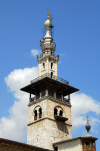 Syria - Damascus: Omayyad Mosque - Minaret of the Bride seen from the courtyard - al Arous minaret - photographer: M.Torres