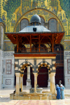 Syria - Damascus: Omayyad Mosque - ablution fountain and Byzantine style decoration of the outer face of the transept - photographer: M.Torres