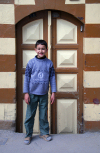 Damascus, Syria: Damascene boy and door - photographer: M.Torres