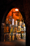 Damascus, Syria: arch and paintings - old town - Al-Masbagha AlKhadra'a - at night - photographer: M.Torres