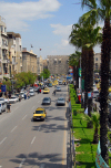 Syria - Damascus / Damas: An-Nasr avenue - view from the pedestrian bridge - looking east towards the old town - photo by  M.Torres