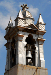 Damascus / Damaskus - Syria: St. Paul's Greek Catholic church - bell tower - silver - photo by M.Torres
