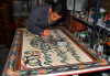 Damascus, Syria: Arabic calligraphy - artisan at work - Koranic verses - Via Recta - photographer: M.Torres