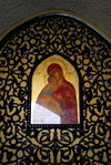 Syria - Seidnaya: icon at the monastery - the Virgin with baby Jesus - undergoing restauration - photo by M.Torres