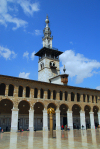 Syria - Damascus: Omayyad Mosque - Minaret of the Bride and arcade (riwaq) - photographer: M.Torres