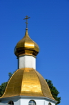 Dushanbe, Tajikistan: gilded onion dome with a Suppedaneum cross - Russian Orthodox Cathedral of St Nicholas - photo by M.Torres