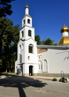 Dushanbe, Tajikistan: Russian Orthodox Cathedral of St Nicholas - white bell-tower and golden dome - photo by M.Torres