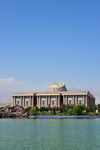 Dushanbe, Tajikistan: Tajikistan National Museum building and the pond on Flag park - photo by M.Torres