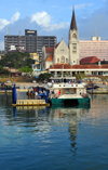 Dar es Salaam, Tanzania: Zanzibar ferry terminal and St Joseph's Cathedral - Sokoine Drive - waterfront - photo by M.Torres