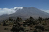 53 Tanzania - Kilimanjaro NP: Marangu Route - day 3 - Mount Kilimanjaro, the Kibo peak and cairns - photo by A.Ferrari