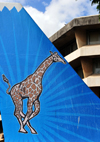 Dar es Salaam, Tanzania: giraffe on a mock aircraft tail - Air Tanzania - the Wings of Kilimanjaro - ATC House - corner of Ohio Street and Garden Avenue - photo by M.Torres