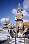 Bangkok / Krung Thep, Thailand: Wat Phra Kaeo - the most sacred Buddhist temple in Thailand - Thotsakhirithon, giant demon (Yaksha) guarding an entrance - photo by J.Kaman