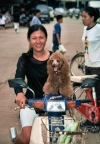 Thailand - Chiang Mai: happy moped girl with dog (photo by J.Kaman)