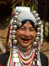 Thailand - Chiang Mai: woman from the ethnic hill tribes - Akha ethnic group - jewelry (photo by P.Artus)