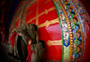 Tibet - pilgrims worshipping - temple gate - fish-eye view - photo by Y.Xu