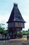 East Timor - Timor Leste - Lautém / Lautein: Timorese traditional architecture - stilt house - Fataluku people sacred house / casa sagrada do povo Fataluku (photo by Mário Tomé)
