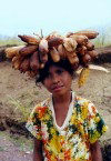 East Timor - Manatuto district: girl wearing corn headgear (photo by M.Sturges)