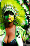 Port of Spain, Trinidad and Tobago: girl with indian costume and large cleavage during carnival - photo by E.Petitalot
