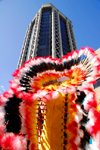 Port of Spain, Trinidad and Tobago: Central Bank Tower - Eric Williams Plaza - architect Anthony C. Lewis - office building behind indian costume - carnival - photo by E.Petitalot