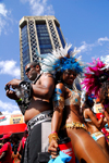 Port of Spain, Trinidad and Tobago: revlers dance the calypso near the Central Bank Tower - Eric Williams Plaza - carnival - photo by E.Petitalot